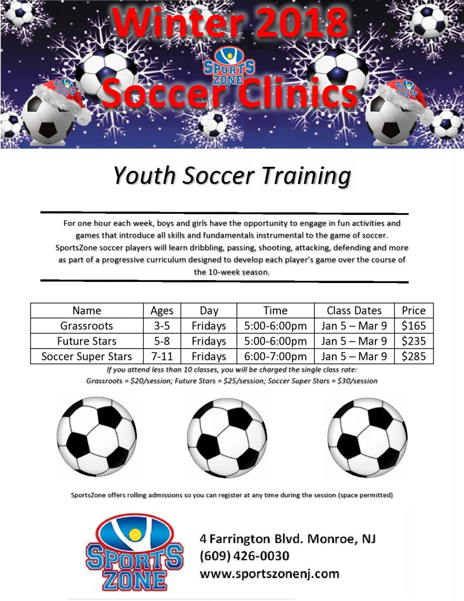 d243f478a198 Monroe Sports Center - Winter 2018 Soccer Clinics
